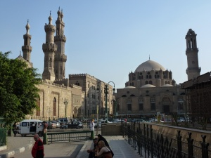 Minarets and mosque in Islamic Cairo district