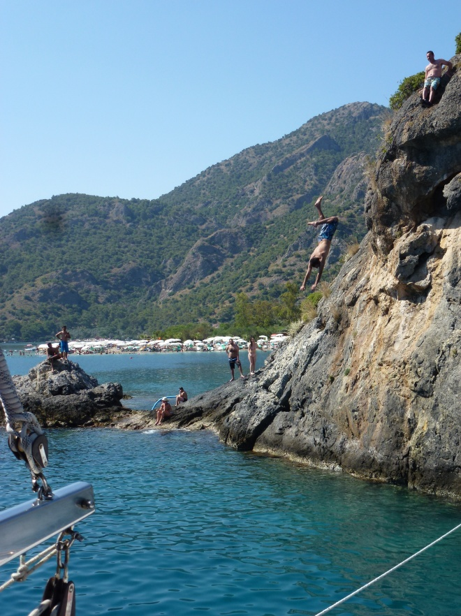 Cliff diving/jumping by the lagoon.