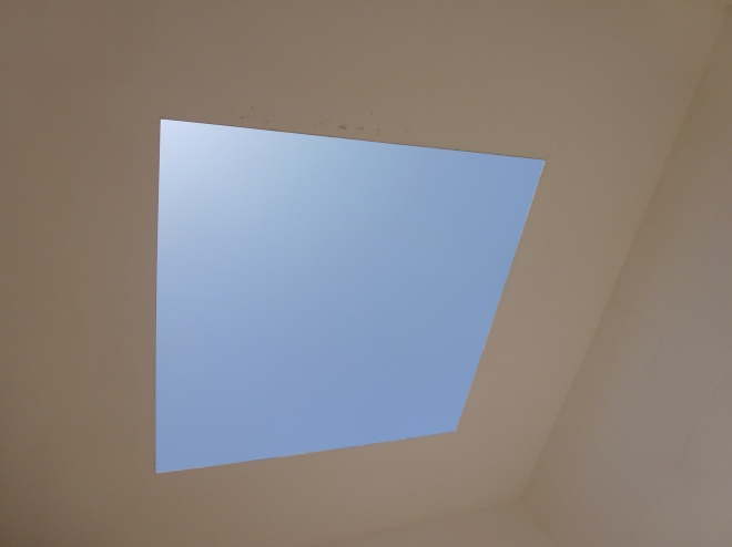 Looking skyward inside the Turrell