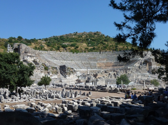 The Ephesus amphitheater could hold about 25,000 people--the largest in Anatolia.