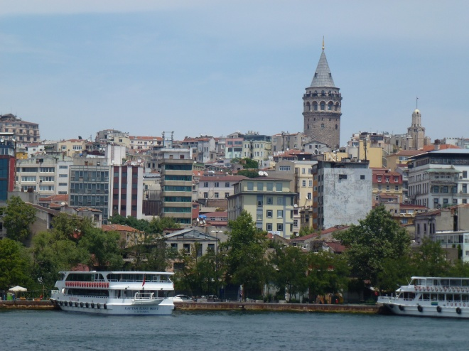 Istanbul from the Bosphorus-Galata tower in the background