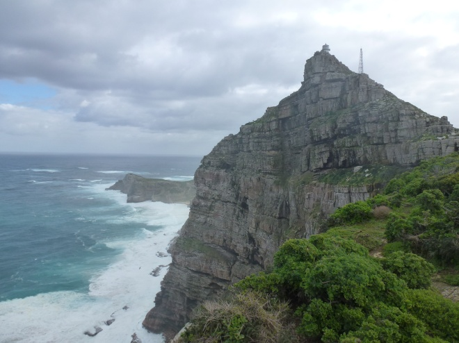 Cape Point lighthouse; Cape of Good Hope off to the left