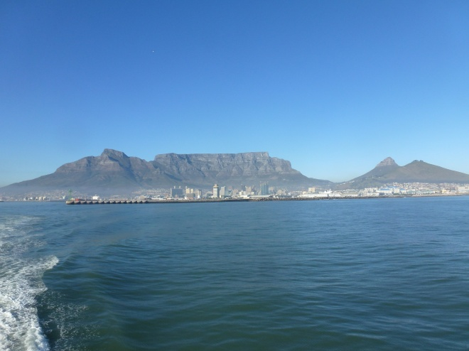 Cape Town. From left to right: Signal Hill, Lion's Head, and the iconic Table Mountain