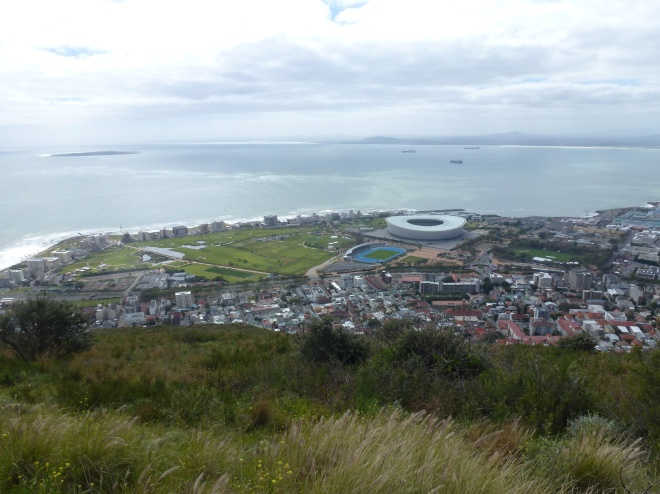Greenpoint, the Stadium, and Robben Island in Table Bay