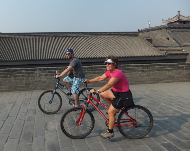 Riding on the ancient city walls of Xi'an