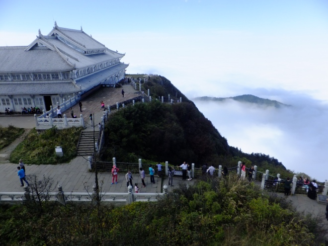 On Mount Emei summit above a floor of clouds