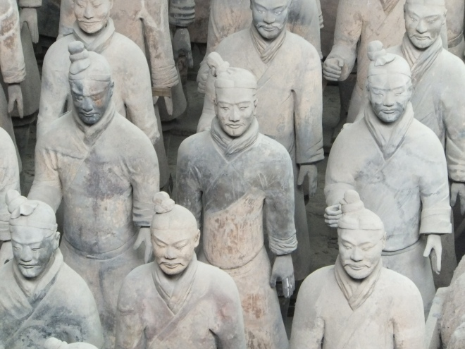 The figures are life-sized. They vary in height, uniform and hairstyle in accordance with rank.