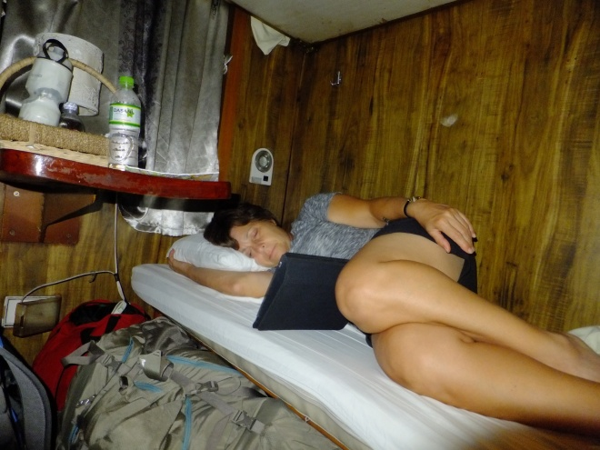 Cindy snug in her berth on the way to Sapa