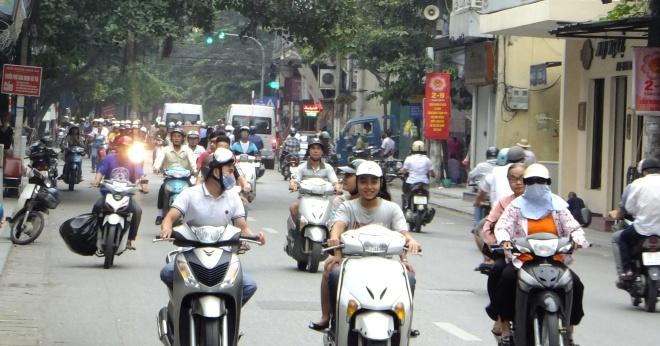 Typical street scene. Lots of motorbikes.