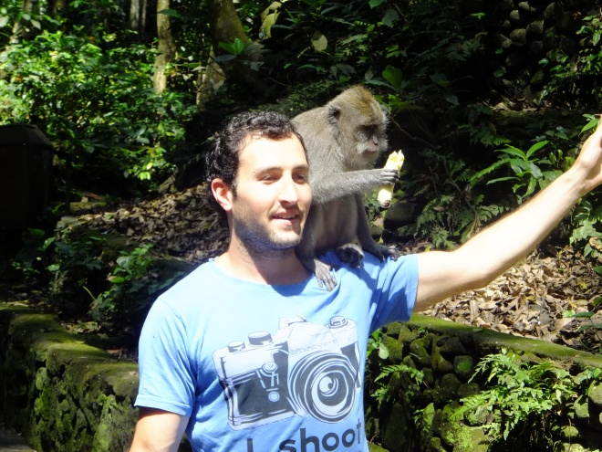 Moments before the macaque urinated on him.