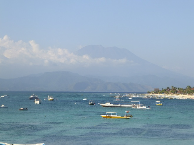 Lembongan harbor--Mt. Agung, Bali in the background