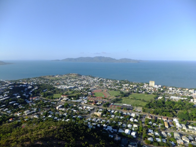 View from Castle Hill. Townsville in the foreground, Magnetic Island in the background.