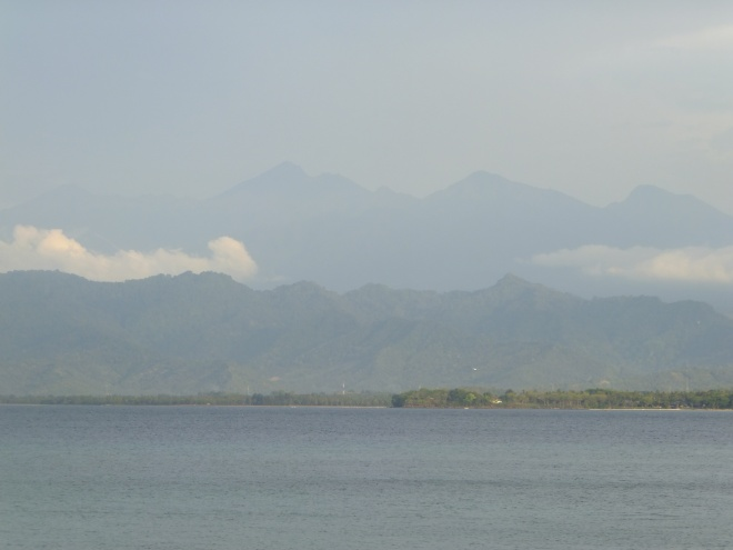 View of Mt. Rinjani volcano from Gili Air