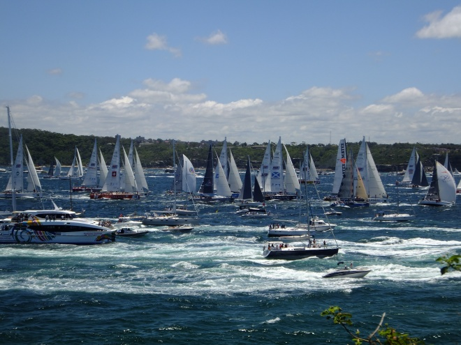 Minutes after the start sailors are 'followed' by motorized spectators.