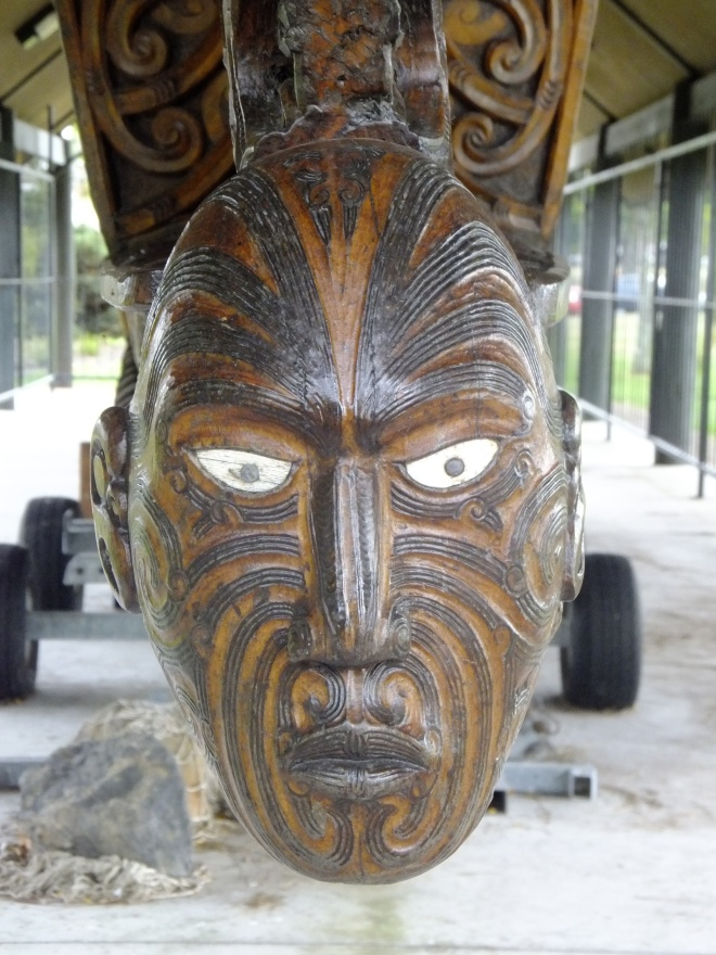 Carving at the bow of a Maori war waka (canoe)