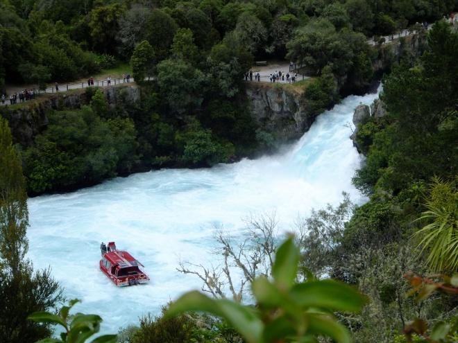 A jet boat negotiates Huka Falls