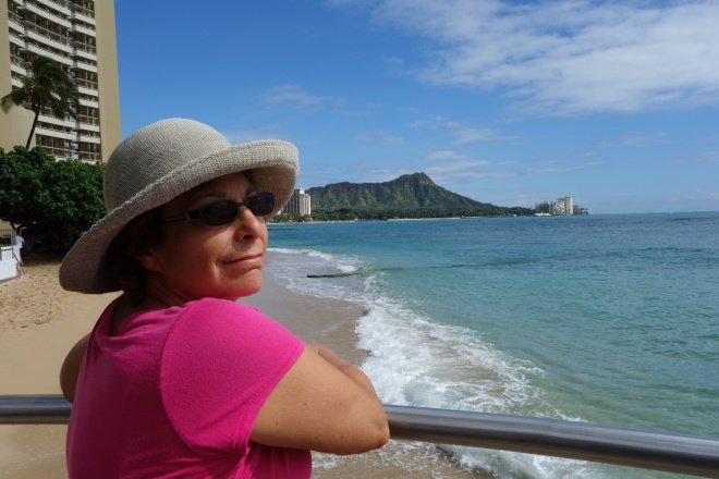 cindy in front of diamond head