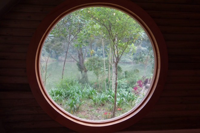 Looking outside the insect house at Parque Arvi