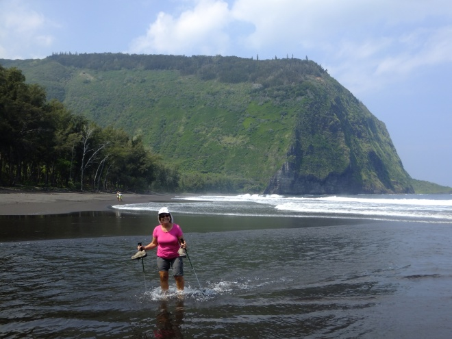 Cindy crosses the Waipi'o River where it meets the ocean