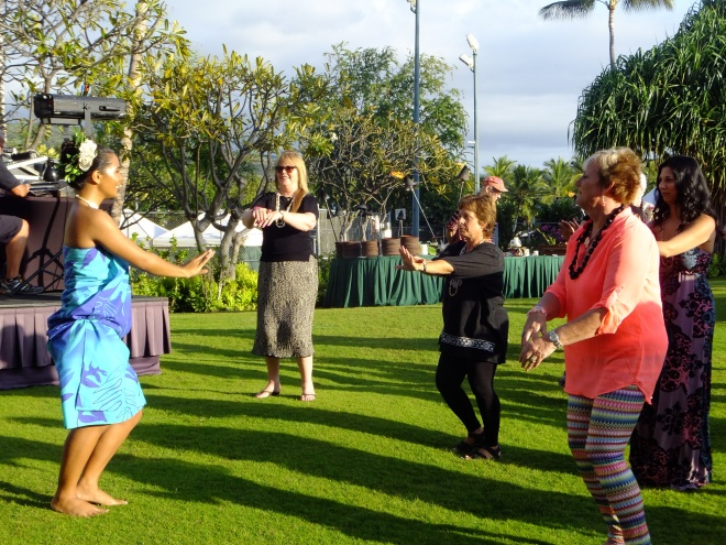 Cindy learning the hula