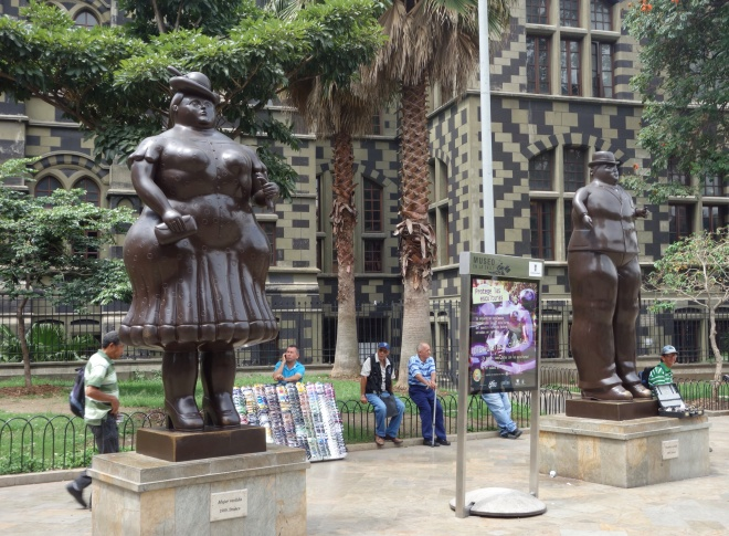 Statues by famous local artist, Fernando Botero, outside the Museum of Antioquia