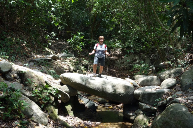 Cindy on a sandstone boulder-bridge