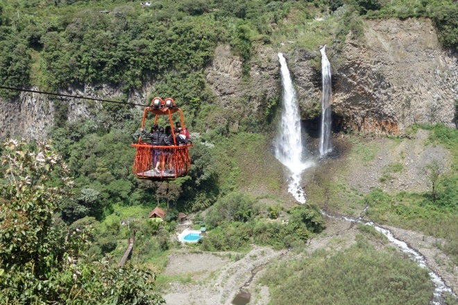 We rode the cable car over Manto de la novio falls