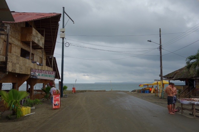 The road to Mompiche ends at the beach