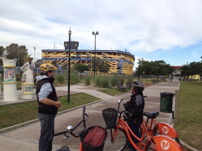 In front of  La Bombanera, the Boca Juniors stadium
