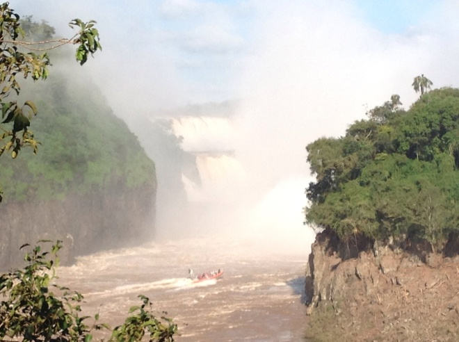 This view is also from Argentina. The Brazilian walkway is between the two falls.